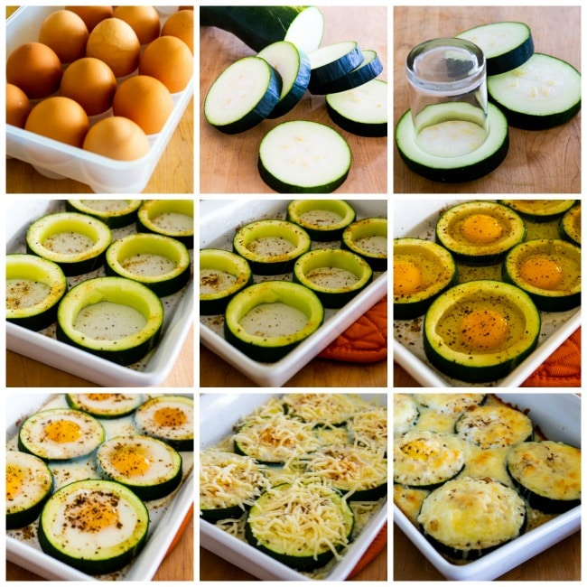 Process photo collage for Low-Carb Baked Zucchini Popeye Eggs