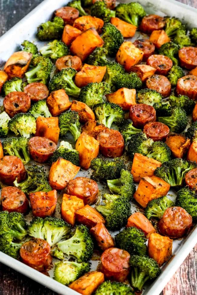 Roasted Sweet Potatoes Sausage And Broccoli Sheet Pan Meal Kalyn S Kitchen