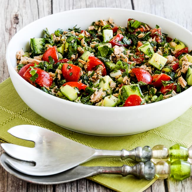 Thumbnail image for Tuna Salad with Tomatoes, Cucumbers, Parsley, and Mint