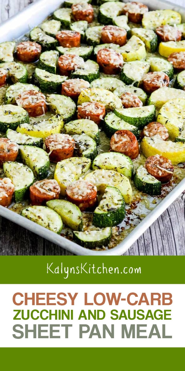 Pinterest image of Cheesy Low-Carb Zucchini and Sausage Sheet Pan Meal