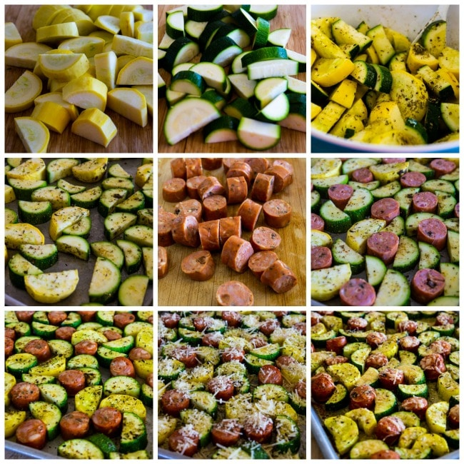 collage photo for Cheesy Low-Carb Zucchini and Sausage Sheet Pan Meal