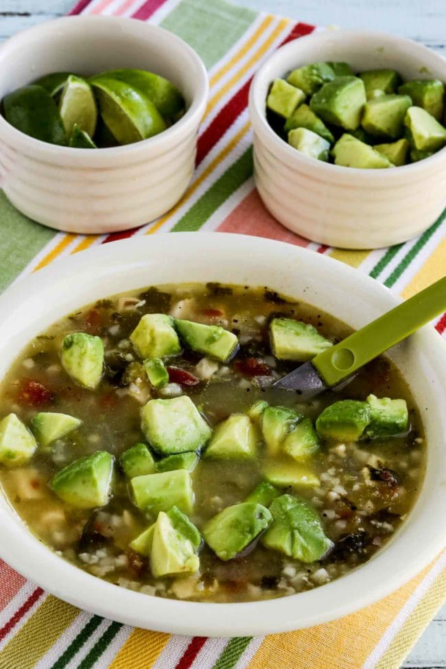Instant Pot Low-Carb Chicken Tomatillo Soup close-up photo