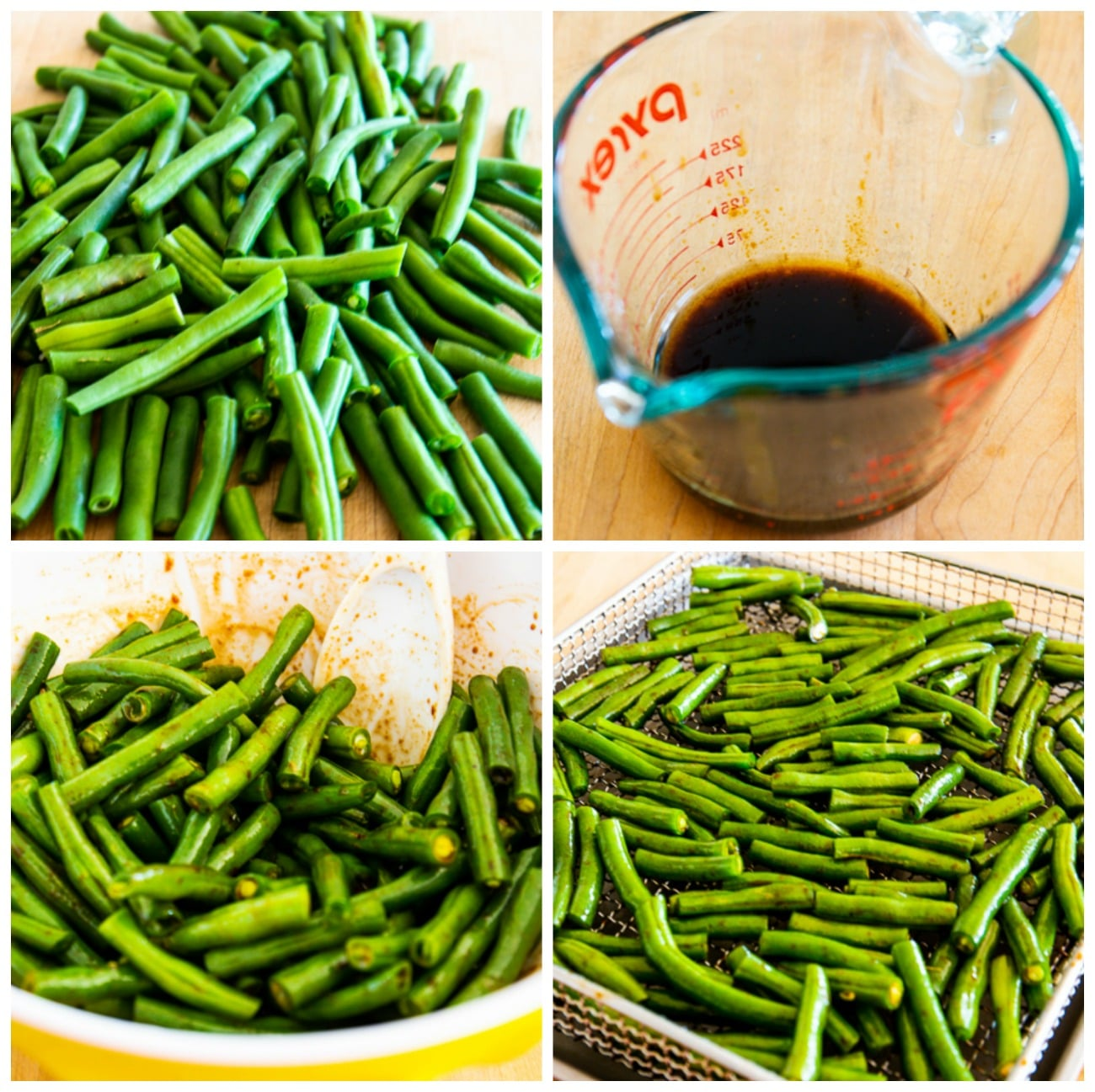 Easy Air Fryer Asian Green Beans collage photo