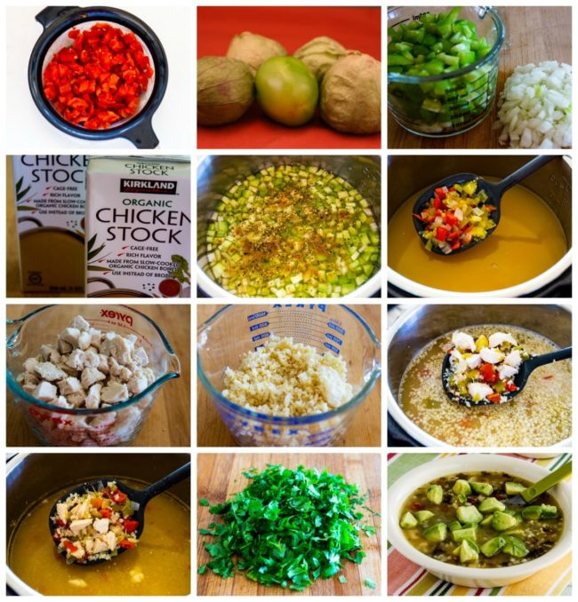 Instant Pot Low-Carb Chicken Tomatillo Soup process photos collage